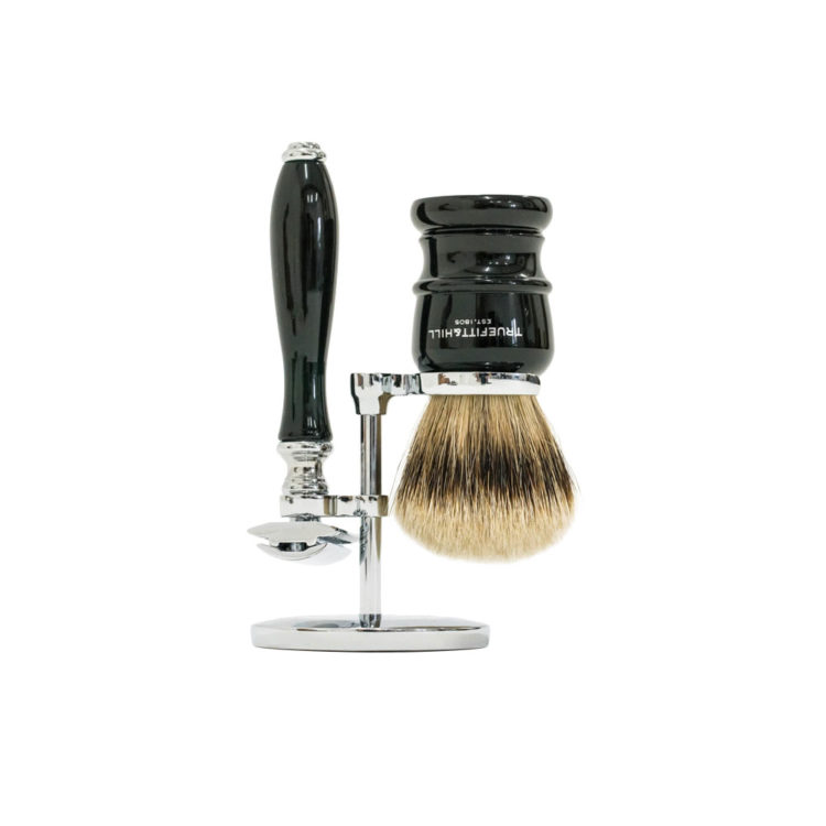 truefitt and hill shave kit with safety razor faux black